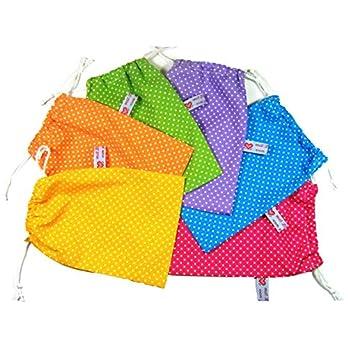 """Stoffsäckchen zum Zuziehen""""Punkte. Farbgruppe 1."""" 13 Farben und 5 Größen zur Auswahl, Zuziehbeutel. Toll für Adventskalender, als Turnbeutel, Einkaufsbeutel, Schmucksäckchen oder Geschenktasche."""