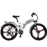 GTYW, Elektrisch, Faltbar, Fahrrad, 26 Zoll, Mountainbike, Erwachsenen Moped, 48V10ah, Elektrisches Fahrrad, Elektrisches Auto Faltend,White-48V10AH