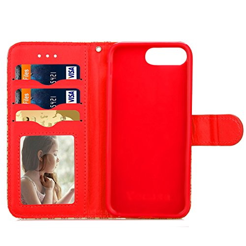 iPhone 7 Plus Coque, Apple iPhone 7 Plus Coque, Lifeturt [ Rouge ] Motif Pure Couleur Housse en Cuir Case à Avec La Fonction Stand Coque de Intérieure Protection Souple Coque Portefeuille TPU Silicone E2-Rouge