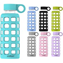 purifyou Glas-Wasserflasche mit Silikonhülle und Edelstahl-Deckeleinsatz
