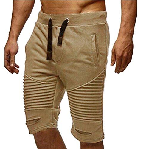 OSYARD Männer Sommer Jogginghose Elastische Taille Sportwear Baggy Casual Trainingshose Solide Blend Cargoshorts