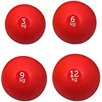 FXR Sports Set Of 4 Red Slam Balls - 3kg, 6kg, 9kg & 12kg (With Free Workout Poster)