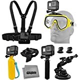 Accessory Kit For GoPro HERO5 Black / Session 4K Action Camera W/ Scuba Diving Mask, HandGrip, Floating Handle, Chest Strap, Wrist/Glove Mount, Tripod Adapter, Car Window Suction Cup, Microfiber Cloth