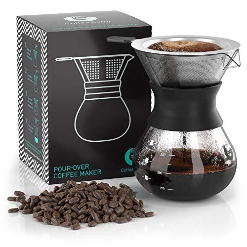 Coffee Gator Pour Over Kaffeebrüher - Mehr Geschmack mit einem papierlosen Edelstahlfilter und Einer Glaskaraffe - Manueller Drip Kaffeebereiter - 300 ml