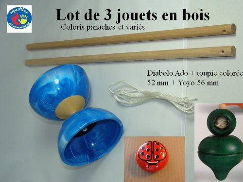 lot de 3 jouets de jonglage en bois, artisanat français, finition excellente