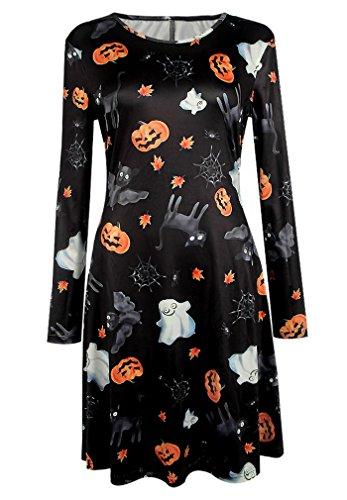 Damen Halloween Kleid mit Druck Kürbis/ Schädel/ Fledermaus/ Ghost Halloween Kostüm Lange Ärmel Rundhals Partykleider Tunika Swingkleider (Kostüm Formel 1 Halloween)