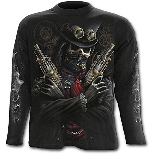 Spiral Steam Punk Bandit Langarm Shirt, schwarz, Black, L (Knochen Langarm-t-shirt)