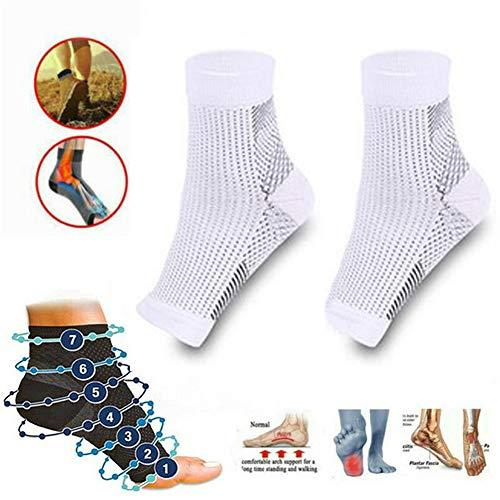 Dr. Sock Beruhigungssocken Anti Fatigue Compression Foot Sleeve Support Brace Socke für Männer und Frauen Plantar Fasciitis Achilles Ankle Anti Fatigue (S/M, Weiß) -