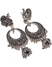 Jewar Mandi Oxidised silver Plated Handmade Jhumka Jhumki chandbali Earrings for Gifting for Men and Women (Silver, 15026)