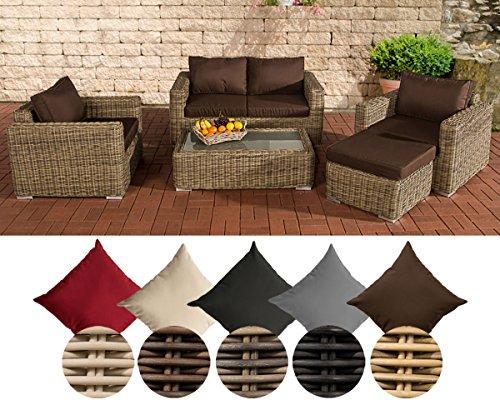 CLP Polyrattan-Lounge MADEIRA inklusive Polsterauflagen | Gartenmöbel-Set bestehend aus einem 2er-Sofa, zwei Sesseln einem Loungetisch und einem Hocker | In verschiedenen Farben erhältlich Bezugfarbe: Terrabraun, Rattan Farbe natura