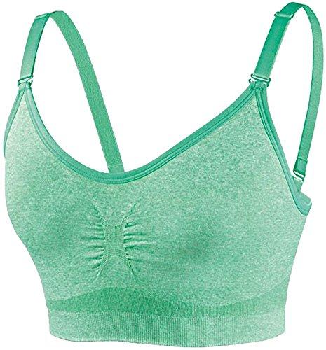 CRIVIT® Damen Sport-BH, Seamless Shapeware, Medium Level, hellgrün meliert, Gr. S