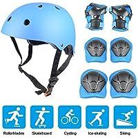 Equipo de protección infantil Yacool, que consta de casco ajustable, rodilleras, coderas y mulas, para patinaje y ciclismo, azul
