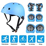 Kid's Protective Gear Set, Yacool Child's Adjustable Helmet, Knee Pads, Elbow Pads and Wrist Pad for Skateboard Roller Skating Cycling Rollerblades (Blue)