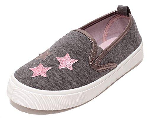 Zapato Mädchen Sneaker Slipper Skater Slip on Schuhe Low-Top Grau Melange mit Glitzer Sternen in Pink Gr. 28-32