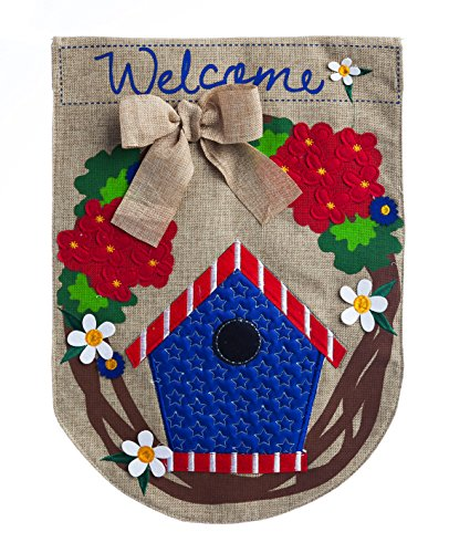 Evergreen Patriotic Birdhouse Welcome Wreath Burlap Garden