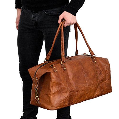 Weekender Reisetasche BERLINER BAGS München XL Geräumige Sporttasche Wochenendtrip Handgepäck Freizeittasche Gymbag aus echtem Leder Damen Herren Qualität Vintage Design Neu Braun Groß 55 cm 40 liter