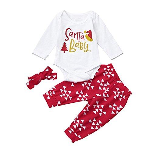 tskleid Baby Junge Mädchen weich Baumwolle Strampler übergang overall + Sporthosen + Schönes Stirnband Weihnachten Outfits Set Kleider Babyausstattung jogginganzug (70cm, Weiß) (Mädchen Xmas Outfit)