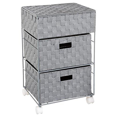 Mueble organizador con ruedas, 2 cajones y un baúl - Práctico y de diseño - Color GRIS