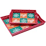 Wooden Traditional Serving Tray Set Of 2 Handmade Decorative Rajasthani Handicraft For Home Decor Gift Item - 15 And 10 Inch