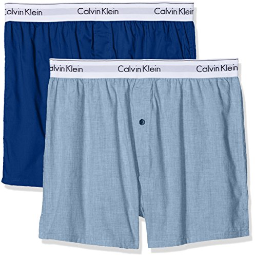 Calvin Klein Underwear Herren 2p Slim Fit Boxer Boxershorts, Blau (Chambray Heather/Estate Blue Gva), Small (erPack 2) -