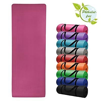 Yoga-Matte HARMONY 180 cm x 60 cm x 1.5 cm Yogamatte rutschfest phthalatfrei für Gymnastik Turnen Pilates extra dick, Farbe:Charming Pink