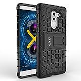 Coque Honor 6X, J&D [Béquille] [Couche Double] Coque de Protection Antichoc Hybride pour Huawei Honor 6X - Noir