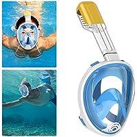 Maschera da Snorkeling, QcoQce Maschera Subacquea Full Face 180 ° Visualizza Design panoramico,Anti-Fogging Anti-Leak con cinghie regolabili per lo snorkeling più lungo per Donna Bambino adulto. (Azul S/M)