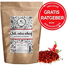 Chili Chilischoten geschrotet 250g EXTRA SCHARF | getrocknete hot Chillis mit Kernen inkl. gratis Ratgeber | Chiliflocken für Chilimühle - Capsaicin