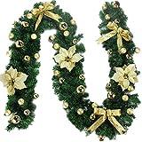 YKANG Handgemachte Weihnachts Rattan Dekoration Hochzeit Feier Hängende Verzierung,2 Farben Verfügbar(270Cm),Gold