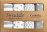 ❤️ Musselin Viereckstücher und Windeltücher ❤️ - von Cuddlebag - (4er Pack) - große Mussellin Decken für Neugeborene - 120cm x 120 cm - Unisex (Punkte und Streifen)