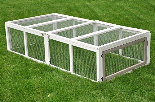 nanook Hasen Kaninchen / Kleintier Freigehege Auslauf Möhrchen grau / weiß XL - 180x90 cm - klappbares Dach