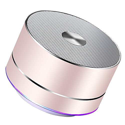 Lenrue Portable Bluetooth Lautsprecher, Wireless Outdoor Mini Wiederaufladbare Lautsprecher mit LED, Stereo Sound, Enhanced Bass, Eingebauter Mic für IPhone / IPad /Andriod / Samsung Tablet(Rose Gold)