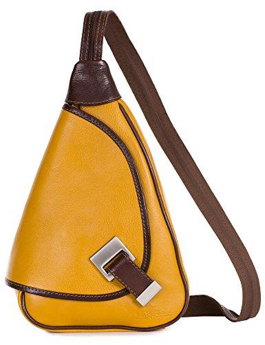 'Mila' von LiaTalia - 2in1 - Kleine italienische Lederrucksack und Schultertasche leicht und praktisch - (Senfgelb - Braun Einfassung)