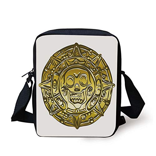 Pirate,Gold Money Pirate Coin Medallion Scary Skull Figure Ancient Antique Currency Print Decorative,Gold White Print Kids Crossbody Messenger Bag Purse Medallion-boot