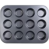 12 Cups Non Stick Muffin Baking Tray (Black)