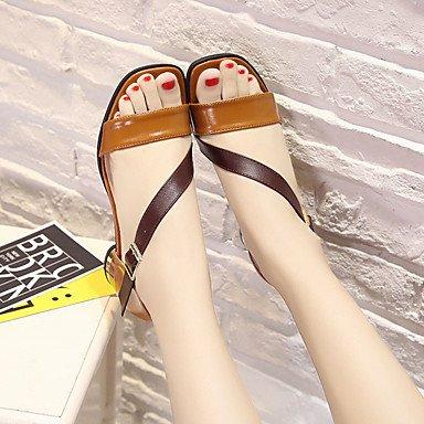 LvYuan Da donna Sandali PU (Poliuretano) Primavera Estate Fibbia Quadrato Beige Marrone scuro 5 - 7 cm beige
