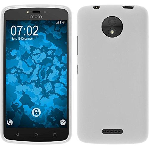 PhoneNatic Case für Lenovo Moto C Plus Hülle Silikon weiß, matt + 2 Schutzfolien