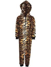 Camille Childrens Unisex Brown Tiger Print Hooded Fleece Onesie