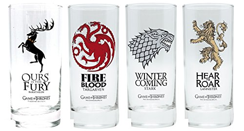 Game of Thrones – Trinkgläser 4er Set 300 ml – Stark – Lannister – Targaryen – Baratheon – Wappen Logo