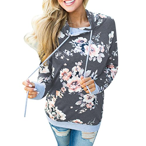 OYSOHE Frauen Herbst Herbst Floral Loose Hoodie Pullover Pullover Tops Bluse (L, Dunkelgrau) (Ups Kostüm Frauen)