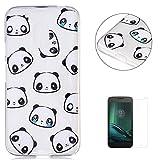 KaseHom Compatible For Moto G4 Play de TPU Transparente Funda [Protector de Pantalla Gratuito] Carcasa de protección contra rasguños Panda Emoji Diseño de Gel de Silicona Resistente Duradera