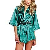 Leisial Lencería Seda Ropa Interior del Camisón del Cordón Salto Bata de Noche Ropa de Dormir para Mujer Verde S