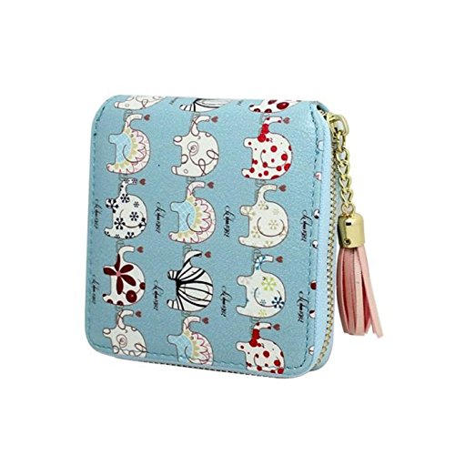Preisvergleich Produktbild Tongshi Frauen Drucken Quaste Reißverschluss Kupplung Geldbeutel kurze Karte Halter Tasche Handtasche (hellblau)