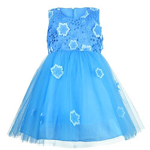 (OKIDSO Mädchen Kleid,Festliches Hochzeit Brautjungfer Kleid Blumenmädchen (4-5 Jahre Alt, Blue))