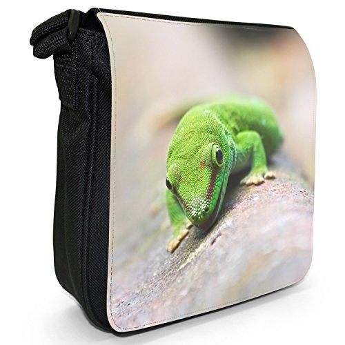 Lucertole Del Mondo piccolo nero Tela Borsa a tracolla, taglia S Happy Green Lizard Smiling