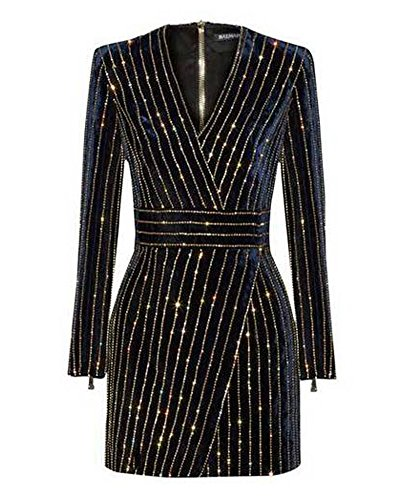 Whoinshop Damen Langarm Bleistiftkleid Partykleid Bodycon Figurbetontes Kleid MiniKleid mit Pailletten wulstige Schwarz M (Pailletten Kleid Schwarz)