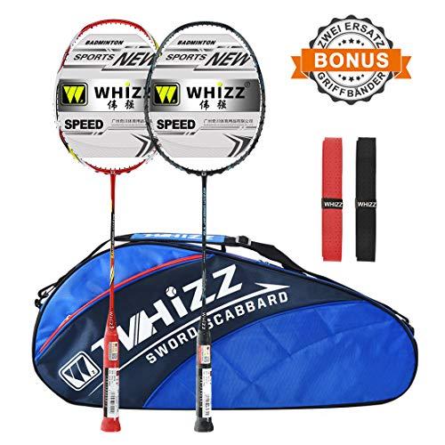 Whizz Badminton Schläger Set Racket 100% Graphit Carbon 2 STK. Verbesserte Version mit Rahmen Schutzhülle & Schlägertasche & 2 Griffbänder (Schwarz+Rot)
