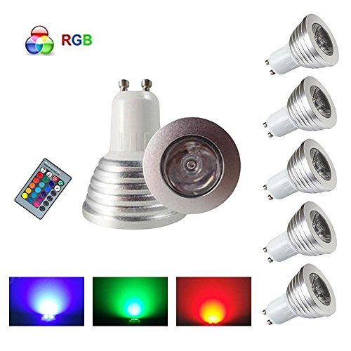 HHD® Paquete de 5 GU10 RGB LED Bombillas focos led 3W Luces...