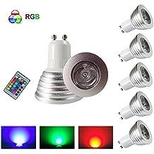 HHD®–Lote de 5RGB Bombilla LED 3W 16colores Cambio de Color RGB LED Bulb 250–270LM LED con mando a distancia con botones AC95–240V [clase energética A +]