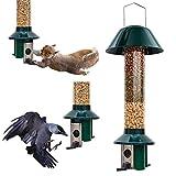Roamwild - Mangiatoria per uccelli, a prova di scoiattolo e di insetti, portasemi/noccioline